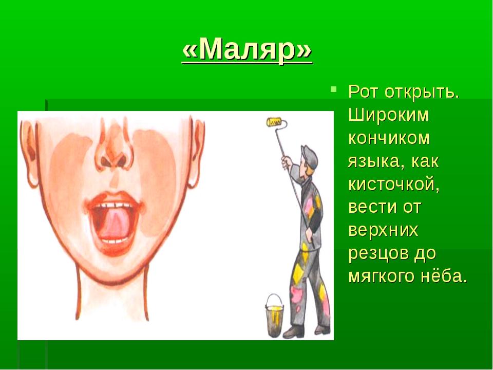 «Маляр» Рот открыть. Широким кончиком языка, как кисточкой, вести от верхних...