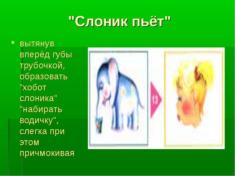 """""""Слоник пьёт"""" вытянув вперёд губы трубочкой, образовать """"хобот слоника"""" """"наби..."""