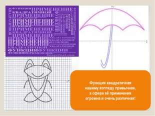 Функция квадратичная нашему взгляду привычная, а сфера её применения огромна