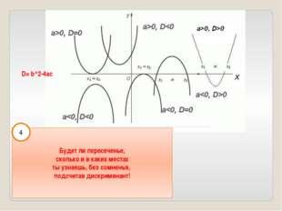 D= b^2-4ac Будет ли пересеченье, сколько и в каких местах ты узнаешь, без сом