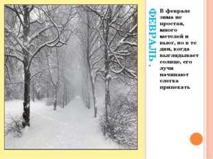 ФЕВРАЛЬ . В феврале зима не простая, много метелей и вьюг, но в те дни, когд
