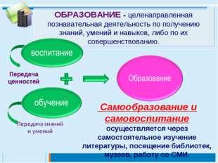 ОБРАЗОВАНИЕ - целенаправленная познавательная деятельность по получению знани
