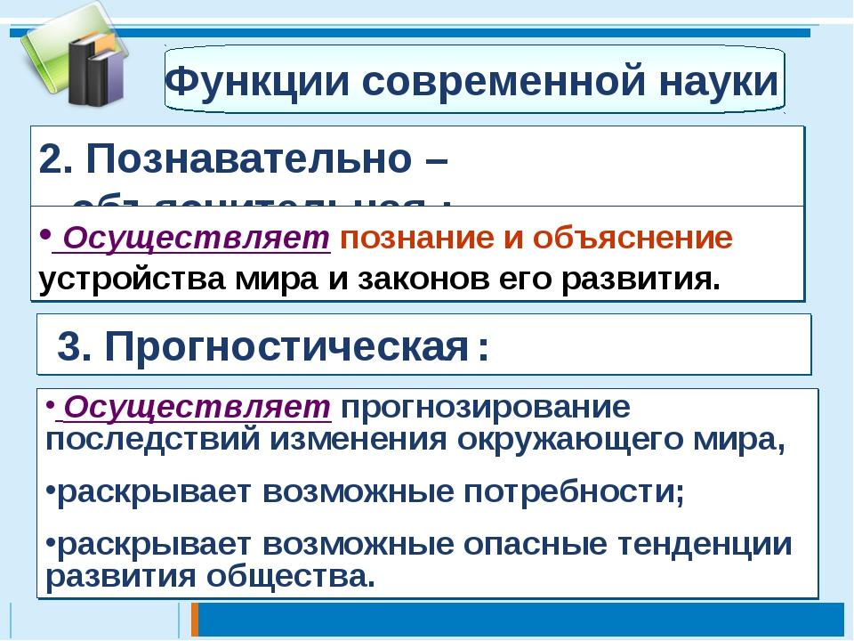 2. Познавательно – объяснительная : 3. Прогностическая : Функции современной...