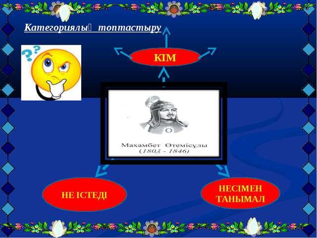 Категориялық топтастыру КІМ НЕ ІСТЕДІ НЕСІМЕН ТАНЫМАЛ