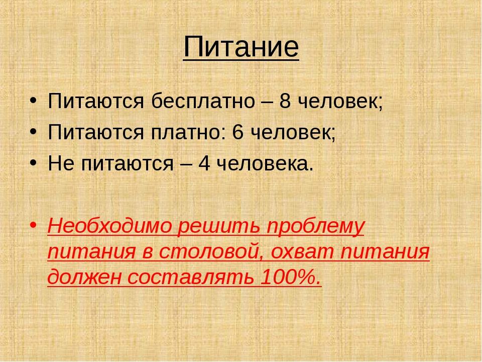 Питание Питаются бесплатно – 8 человек; Питаются платно: 6 человек; Не питают...