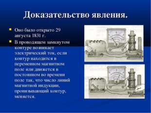 Доказательство явления. Оно было открыто 29 августа 1831 г. В проводящем замк