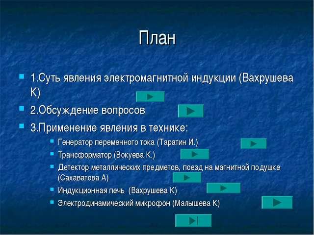 План 1.Суть явления электромагнитной индукции (Вахрушева К) 2.Обсуждение вопр...
