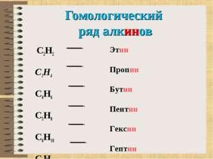 Гомологический ряд алкинов C2H2 C3H4 C4H6 C5H8 C6H10 C7H12 Этин Пропин Б