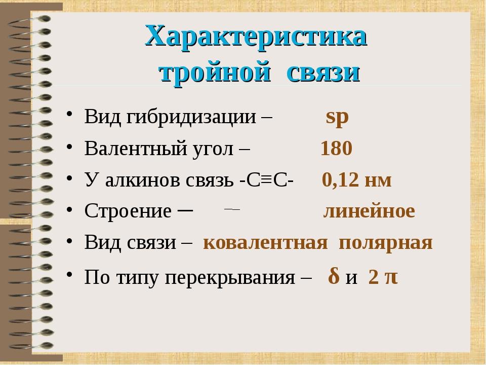 Характеристика тройной связи Вид гибридизации – sp Валентный угол – 180 У алк...