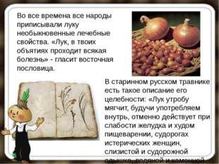 Во все времена все народы приписывали луку необыкновенные лечебные свойства.