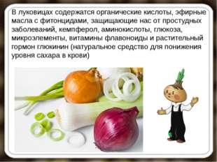 В луковицах содержатся органические кислоты, эфирные масла с фитонцидами, защ