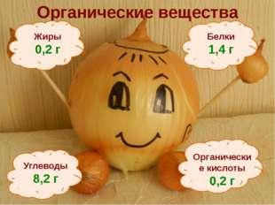 Органические вещества Белки 1,4 г Углеводы 8,2 г Жиры 0,2 г Органические кисл
