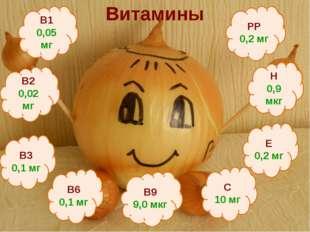 Витамины Е 0,2 мг В1 0,05 мг В2 0,02 мг В9 9,0 мкг В3 0,1 мг В6 0,1 мг Н 0,9