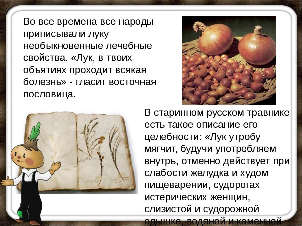 Во все времена все народы приписывали луку необыкновенные лечебные свойства....
