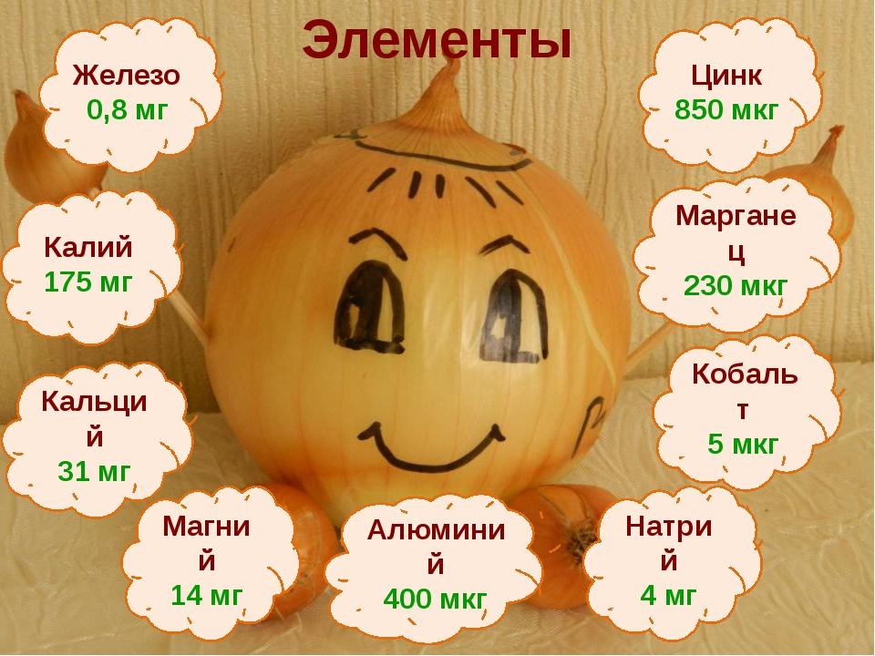 Элементы Кобальт 5 мкг Алюминий 400 мкг Железо 0,8 мг Калий 175 мг Натрий 4 м...