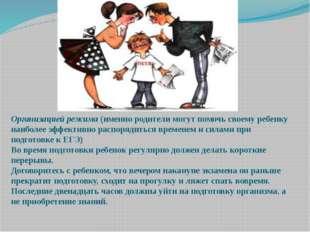 Организацией режима(именно родители могут помочь своему ребенку наиболее эфф