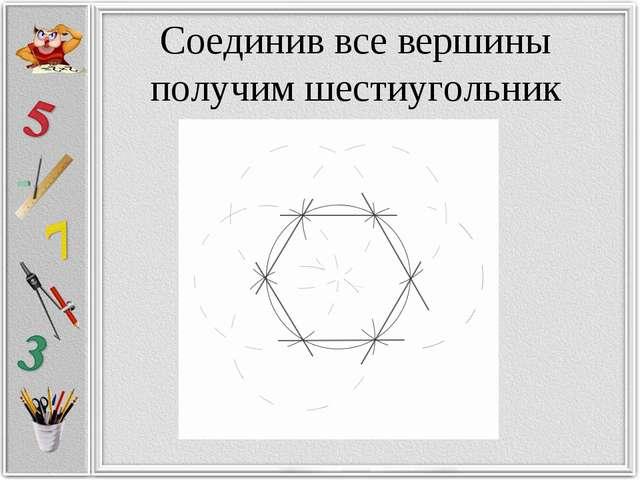 Соединив все вершины получим шестиугольник
