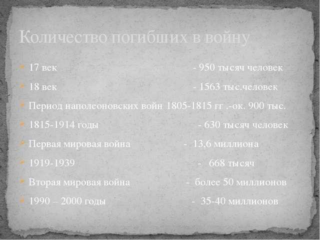 17 век - 950 тысяч человек 18 век - 1563 тыс.человек Период наполеоновских во...