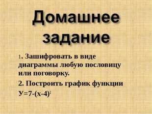 1. Зашифровать в виде диаграммы любую пословицу или поговорку. 2. Построить г