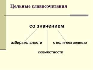 Цельные словосочетания со значением избирательности с количественным совместн