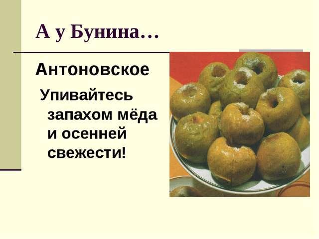 А у Бунина… Антоновское Упивайтесь запахом мёда и осенней свежести!