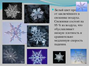 Белый цвет происходит от заключённого в снежинке воздуха. Снежинки состоят на
