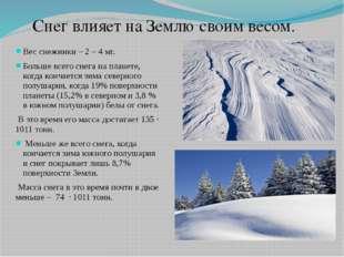 Вес снежинки – 2 – 4 мг. Больше всего снега на планете, когда кончается зима