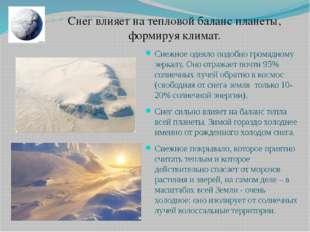 Снежное одеяло подобно громадному зеркалу. Оно отражает почти 95% солнечных л