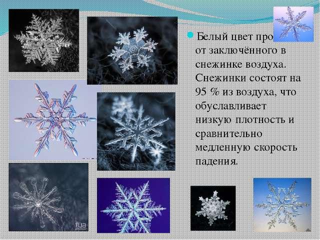 Белый цвет происходит от заключённого в снежинке воздуха. Снежинки состоят на...