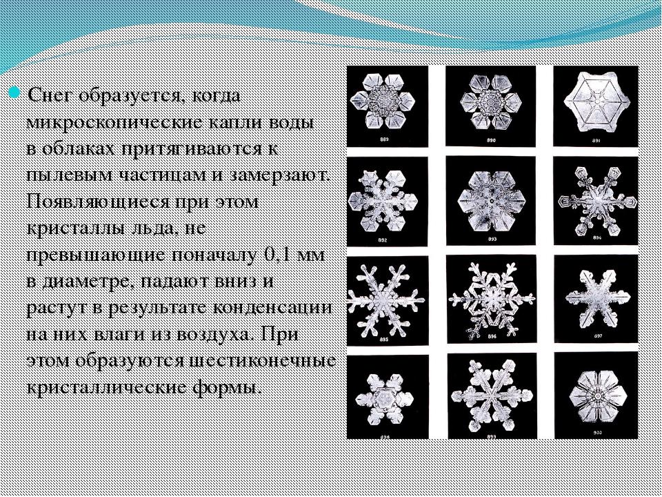 Снег образуется, когда микроскопические капливоды воблаках притягиваются к...