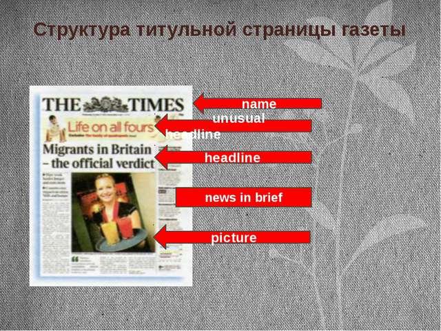 Структура титульной страницы газеты name headline picture unusual headline ne...
