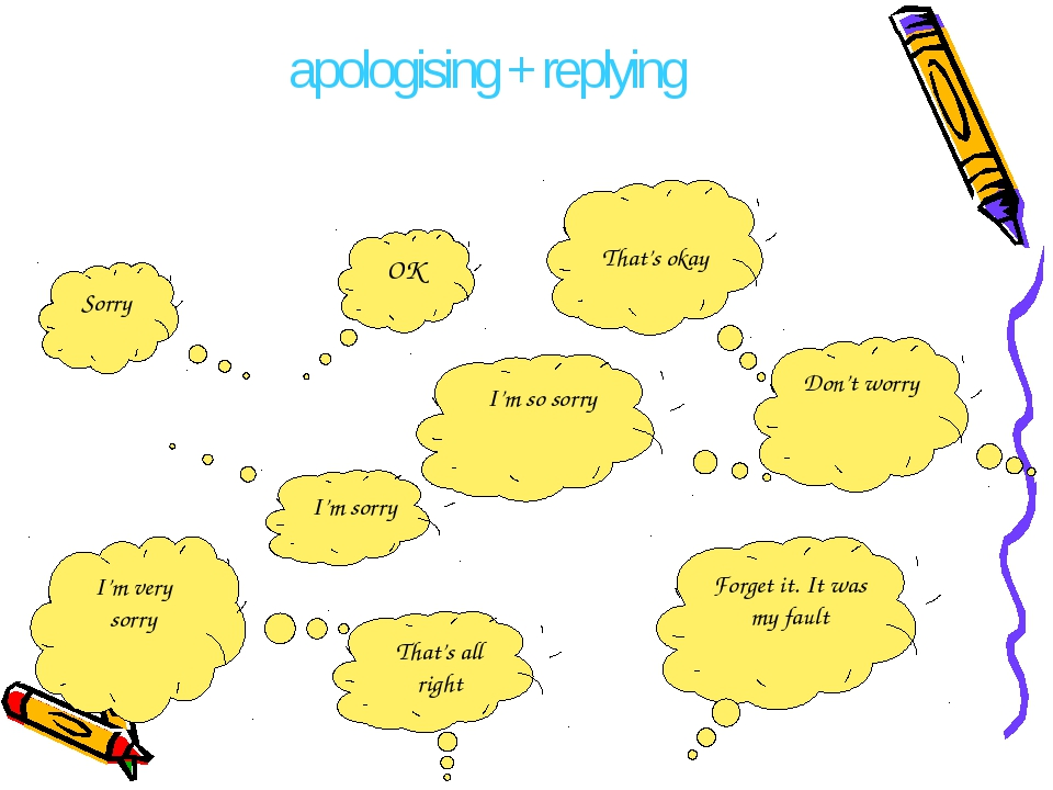 apologising + replying That's all right Forget it. It was my fault Sorry OK I...