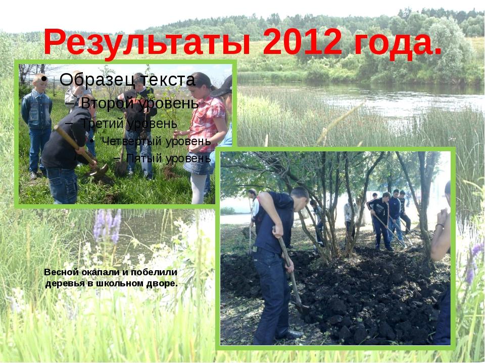Высажены саженцы Результаты 2012 года. Весной окапали и побелили деревья в ш...