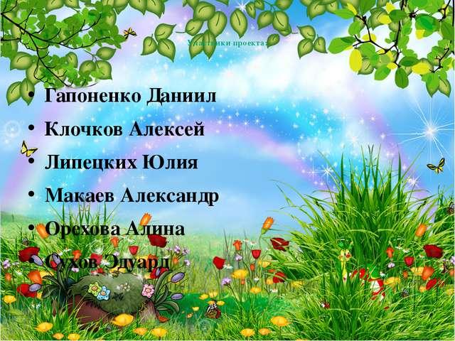 Участники проекта: Гапоненко Даниил Клочков Алексей Липецких Юлия Макаев Але...
