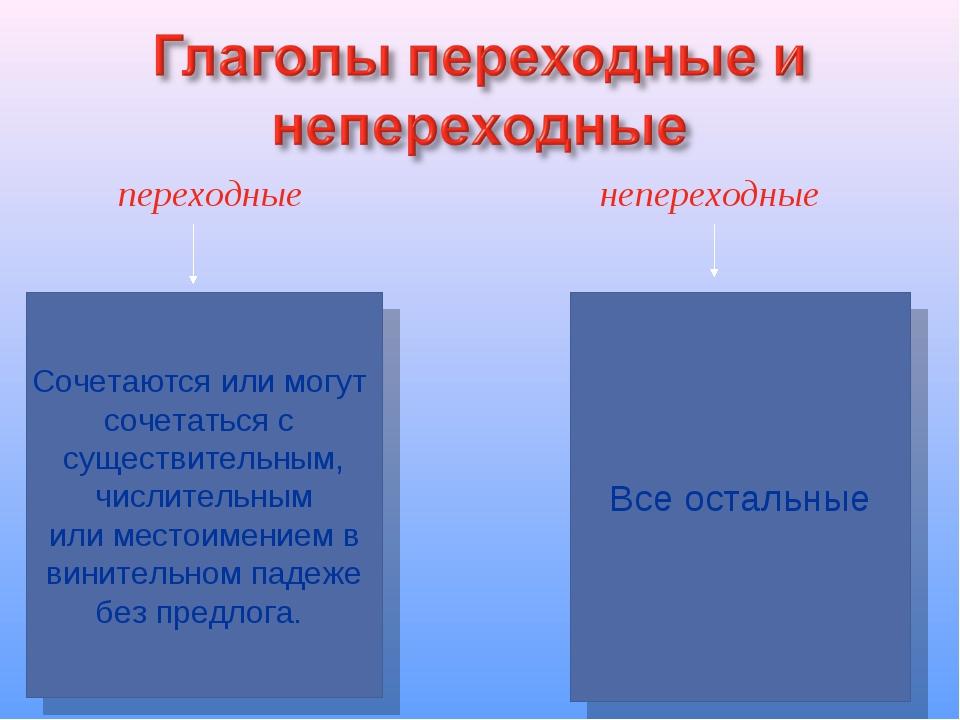 переходные непереходные Сочетаются или могут сочетаться с существительным, ч...