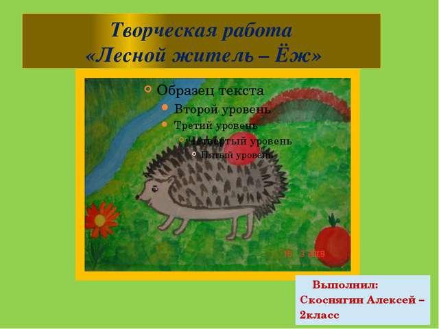 Творческая работа «Лесной житель – Ёж» Выполнил: Скоснягин Алексей – 2класс