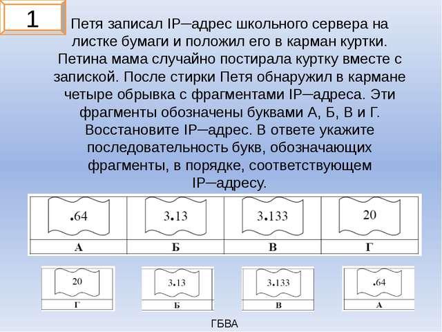 Петя записал IP─адрес школьного сервера на листке бумаги и положил его в карм...