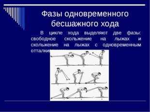 Фазы одновременного бесшажного хода В цикле хода выделяют две фазы: свободн