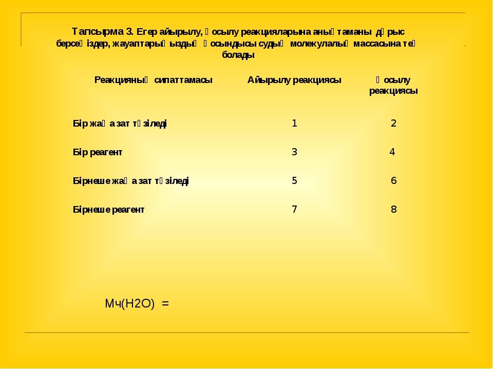Тапсырма 3. Егер айырылу, қосылу реакцияларына анықтаманы дұрыс берсеңіздер,...