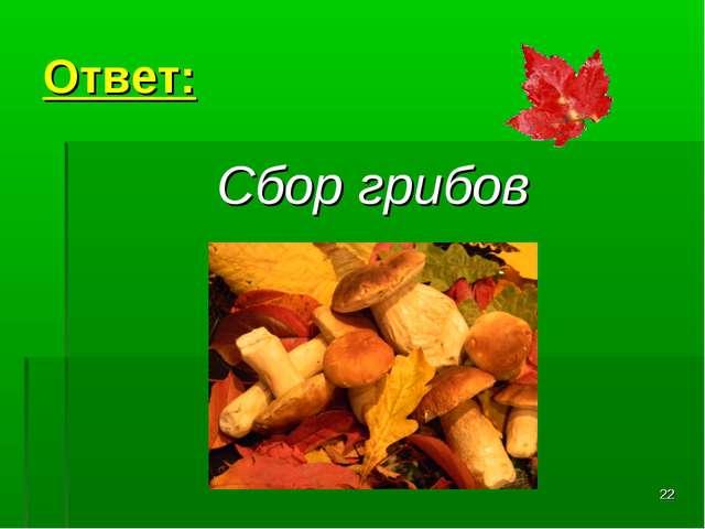 * Ответ: Сбор грибов