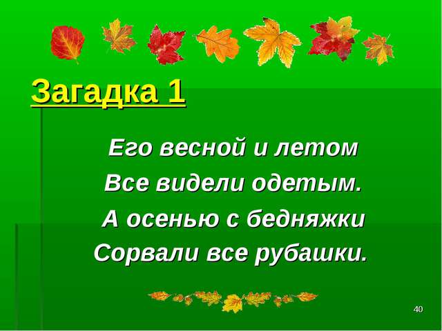 * Загадка 1 Его весной и летом Все видели одетым. А осенью с бедняжки Сорвал...
