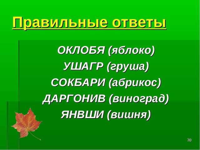 * Правильные ответы ОКЛОБЯ(яблоко) УШАГР(груша) СОКБАРИ(абрикос) ДАРГОНИВ...