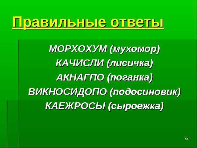 * Правильные ответы МОРХОХУМ(мухомор) КАЧИСЛИ(лисичка) АКНАГПО(поганка) ВИ...
