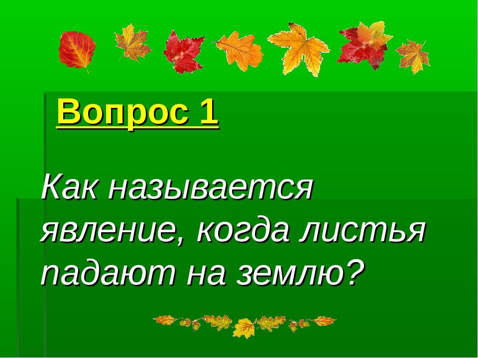 Вопрос 1 Как называется явление, когда листья падают на землю?