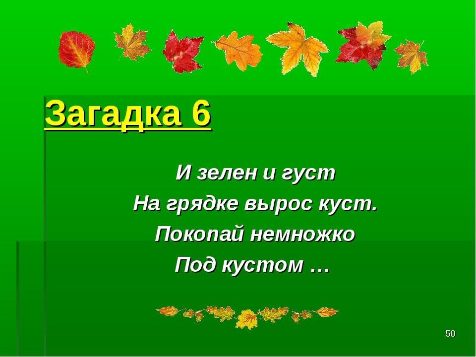 * Загадка 6 И зелен и густ На грядке вырос куст. Покопай немножко Под кустом …