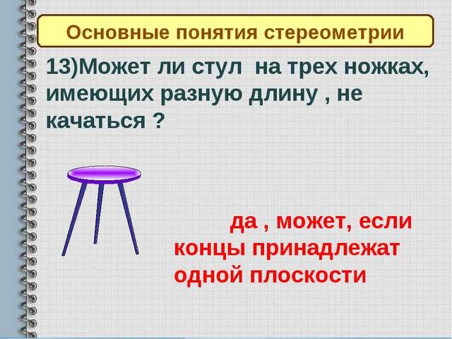 Основные понятия стереометрии 13)Может ли стул на трех ножках, имеющих разную...
