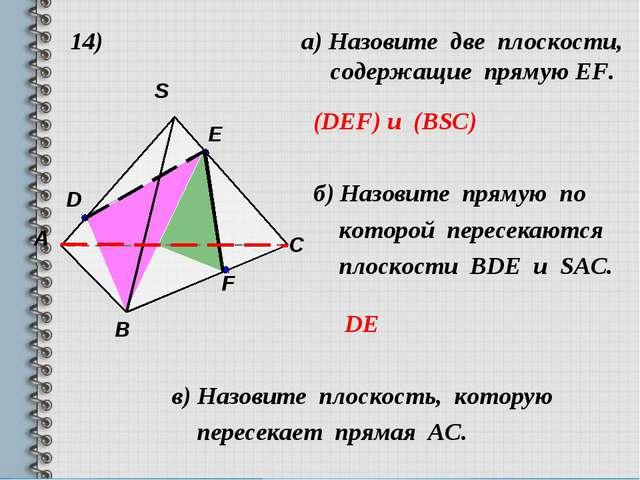 14) а) Назовите две плоскости, cодержащие прямую EF. (DEF) и (BSC) б) Назовит...