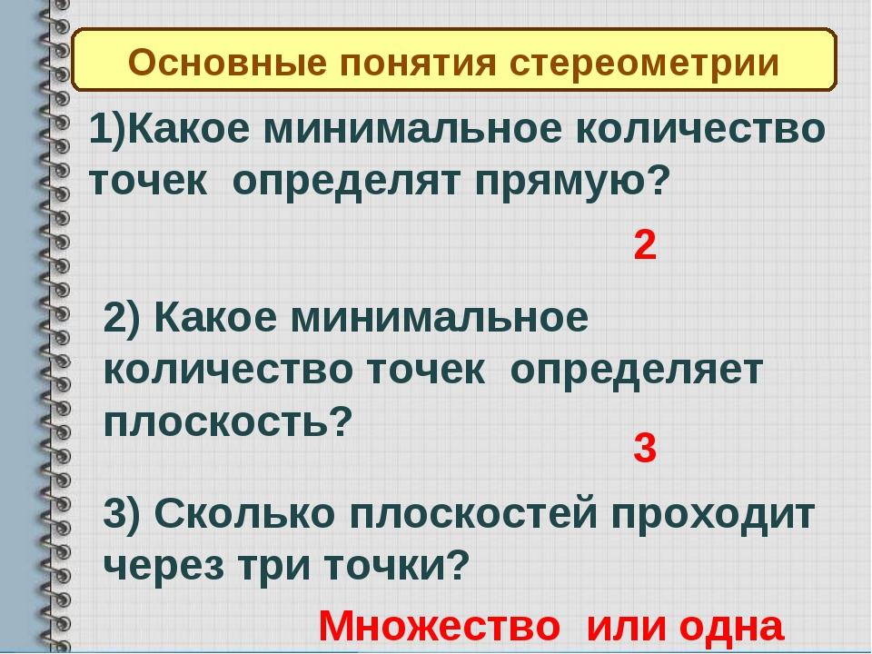 Основные понятия стереометрии 1)Какое минимальное количество точек определят...