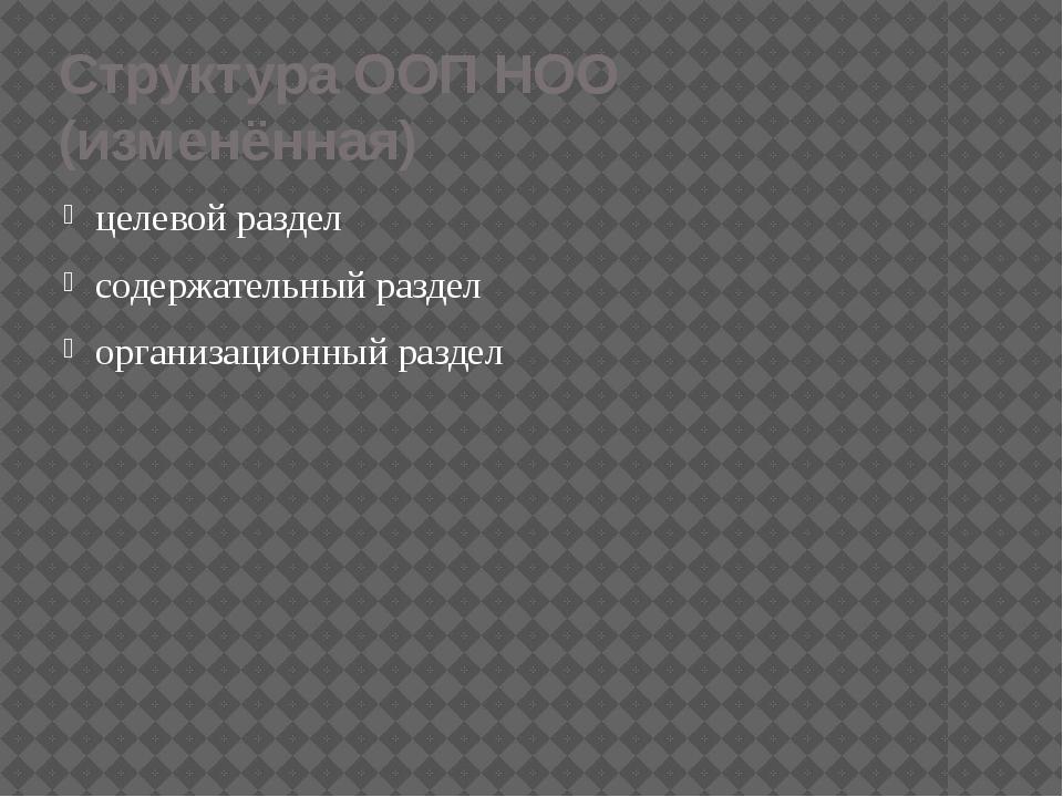 Структура ООП НОО (изменённая) целевой раздел содержательный раздел организац...