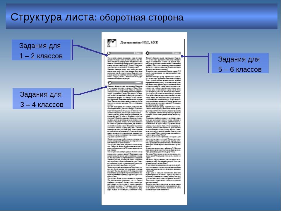 Структура листа: оборотная сторона